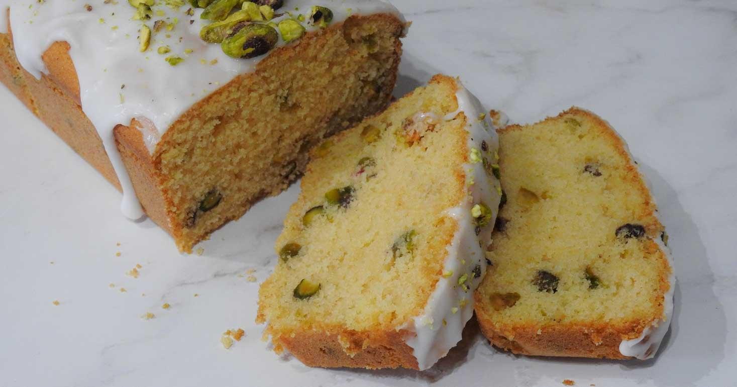 Gluten Free Rose, Pistachio and Lemon Loaf Cake